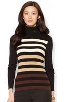 Lauren by Ralph Lauren Petite Ombre Striped Turtleneck Sweater - Lyst