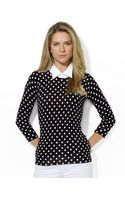 Lauren by Ralph Lauren Petite Collared Polka Dot Crewneck Sweater - Lyst