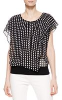 Armani Cap Sleeve Printed Silk Top - Lyst
