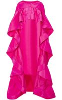 Oscar de la Renta Long Silk-faille Ruffled Cape - Lyst