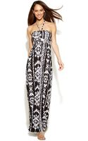 Inc International Concepts Embellished Printed Halter Maxi Dress - Lyst