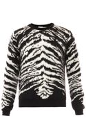 Saint Laurent Tigerintarsia Mohairblend Sweater - Lyst
