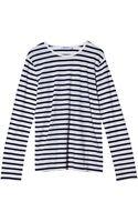T By Alexander Wang Striped Linen Cotton Long Sleeve Top - Lyst