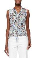 Carolina Herrera Botanical Floral-print Tie-front Blouse - Lyst