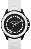 Karl Lagerfeld Unisex White Siliconewrapped Stainless Steel Bracelet Watch 44mm - Lyst