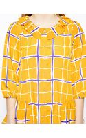 Love Moschino Shirt With Pierrot Collar In Check Print - Lyst