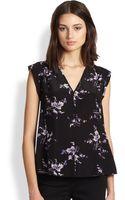 Rebecca Taylor Floralprint Silk Blouse - Lyst