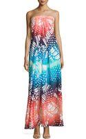 Diane von Furstenberg Halter Maxi Silk Printed Dress - Lyst