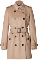 Burberry Woolcashmere Midlength Kensington Trench Coat in Honey - Lyst