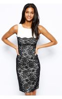 Hybrid Pencil Dress with Lace - Lyst
