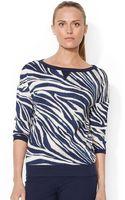 Lauren by Ralph Lauren Waffle Knit Zebra Print Shirt - Lyst