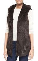 La Fiorentina Hooded Rabbit Vest - Lyst