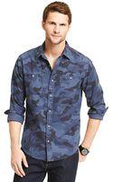 Tommy Hilfiger Custom Fit Camouflage Shirt - Lyst