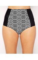 Asos Mono Geotribal Print High Waist Bikini Bottom - Lyst