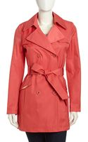 Via Spiga Double Breasted Belted Trench Coat  - Lyst