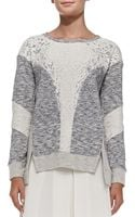 Rebecca Taylor Mixed Fabric Patchwork Pullover Sweater - Lyst