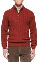 Peter Millar Cashmere Cable Knit 12zip Sweater - Lyst
