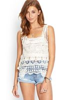 Forever 21 Crocheted Squareneck Top - Lyst