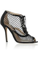 Oscar de la Renta Renata Patentleather and Mesh Ankle Boots - Lyst