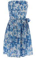 Oasis Ditsy Blues Bandeau Dress - Lyst