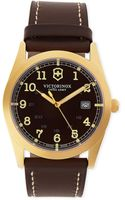 Victorinox Infantry Large Pvd 3n Watch with Brown Leather Strap - Lyst