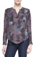 Rebecca Taylor Floral Haze Watercolor-print Silk Blouse - Lyst