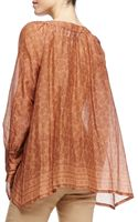 Donna Karan New York Printed Henna Blouse with Round Neck - Lyst