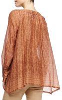 Donna Karan New York Printed Henna Blouse with Round Neck - Lyst