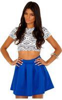 Missguided Lynda Box Pleat Mini Skirt in Royal Blue - Lyst