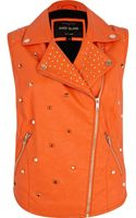 River Island Orange Studded Biker Vest - Lyst