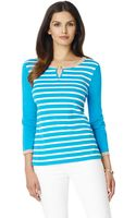 Jones New York Threequarter Sleeve Striped Top - Lyst
