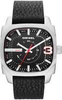 Diesel Mens Shifter Black Leather Strap Watch 51x42mm - Lyst