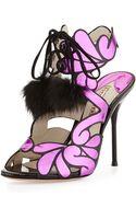 Sophia Webster Selina Metallic Lace-up Fur Bootie - Lyst