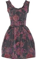 Oscar De La Renta For The Outnet Floralprint Taffeta Dress - Lyst