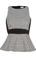 River Island White Flocked Check Peplum Top - Lyst