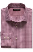 Banana Republic Slim Fit Non Iron Micro Check Shirt Retro Red - Lyst