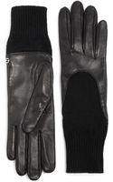 Gucci Guanti Donna Leather Knit Gloves - Lyst