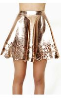 Nasty Gal Reverse Metal Petal Faux Leather Skater Skirt - Lyst