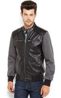 Guess Black Faux Leather Bomber Jacket - Lyst