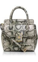 Tory Burch Clara Snake Small Tote - Lyst