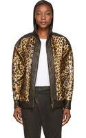 Balmain Leopard Print and Black Lambskin Bomber Jacket - Lyst