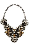 Deepa Gurnani Crystal Statement Necklace Cleargunmetal - Lyst