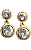 T Tahari 14k Goldplated Double Crystal Drop Earrings - Lyst