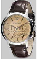 Emporio Armani Leather Chronograph Watch - Lyst