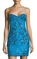 Adrianna Papell Coral-beaded Sequined Cocktail Dress - Lyst