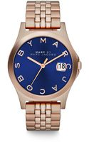 Marc By Marc Jacobs Henry Slim Rose Goldtone Stainless Steel Bracelet Watchdark Blue - Lyst