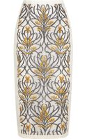 Mother Of Pearl Knox Embroidered Silkorganza Midi Skirt - Lyst
