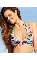 Kenneth Cole Reaction Floralprint Ruffle Halter Bikini Top - Lyst