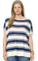 Lauren by Ralph Lauren Plus Size Shortsleeve Striped Linen Sweater - Lyst