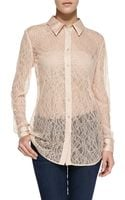 Equipment Reese Clean Long Sleeve Lace Blouse Nude X-small0-2 - Lyst